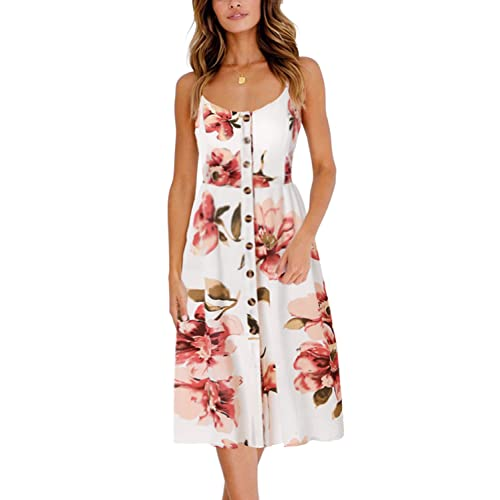 BMJL Women s Dresses V Neck Floral Print Strappy A Line Ladies Sleeveless  Cocktail Party Beach Summer 1300045bc