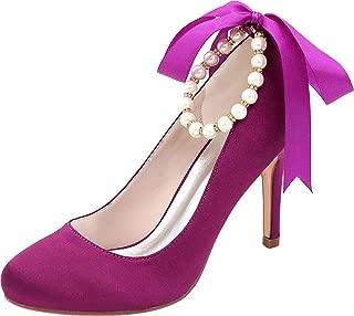 Vimedea Womens Heeled Round Toe Slip On Dress Pumps Ankle Straps Wedding Lace 5623-08