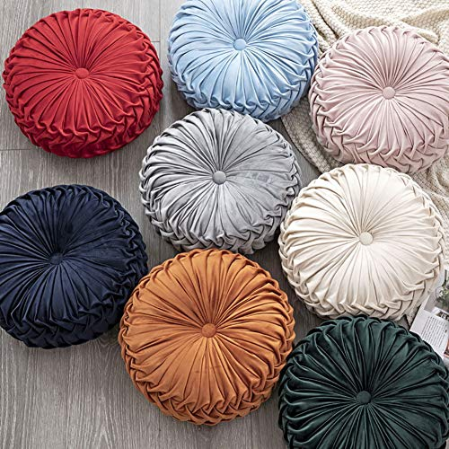 Elero Round Throw Pillow Velvet Home Decoration Pleated Round Pillow Cushion for Couch Chair Bed Car Orange