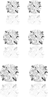 3-pair 10K Gold Round Simulated Diamond CZ Stud Earrings Set - Yellow or White Gold