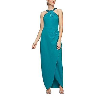 Alex Evenings Long Halter Neckline Dress Women