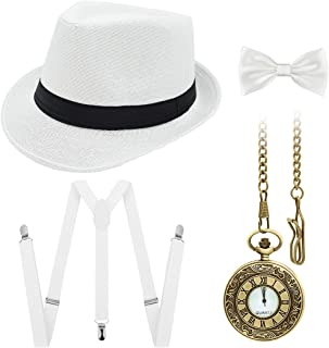 Ziyoot 1920s Accessories Men's Gatsby Gangster Costume Men Roaring 1920s Set Panama Y-Back Suspenders Bow Tie