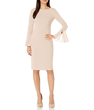 Calvin Klein Solid Sheath With Chiffon Bell Sleeves Dress
