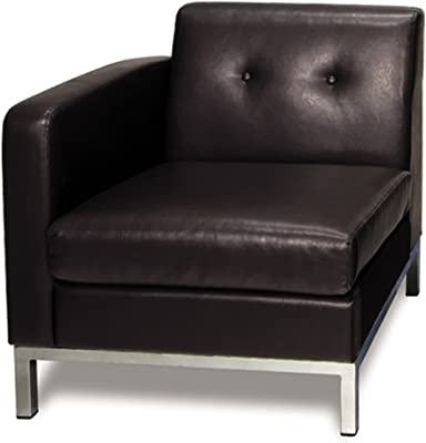 OSP Home Furnishings Wall Street Faux Leather Left Facing Armchair with Chrome Finish Base, Espresso