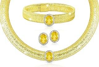 Vera Perla 18K Gold 0.52Cts Diamonds with 10mm Citrine Jewelry Set, 3 Pcs.