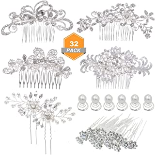 inSowni 4pcs Wedding Hair Side Combs+28pcs U-shaped & Twist Bridal Hair Pins Rhinestone Pearls for Women Girls Bridesmaids