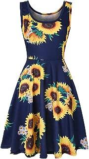 Women's Summer Sleeveless Swing Tank Dress Casual Floral Print Skater Sundress