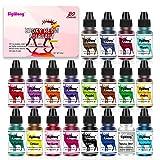 SigWong Epoxidharz Farbe -20 Farben flüssig transluzente Epoxidharzfarbe, hochkonzentrierte Epoxidharzfarbe für Schmuckherstellung, AB-Harzfarbe für Farbe, Handwerk – je 10 ml