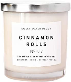 Cinnamon Rolls Natural Soy Wax Candle White Jar Silver Lid Scented Cloves Vanilla Icing Buttery Pastry Food Fall Winter Christmas Lead and Gluten Free Cotton Wicks Country Rustic Decor Made in USA