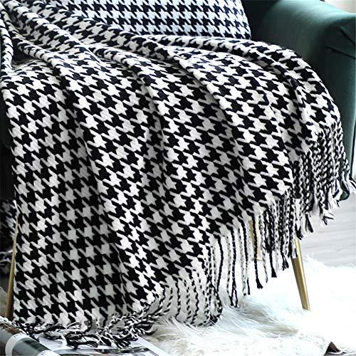 LucaSng Warme Tagesdecke, Hahnentritt Gestrickte Decke mit Quaste, Strickdecke Sofadecke Couch-Überwurf Schlafdecke für Wohnzimmer Schlafzimmer Büro (130 x 230 cm)