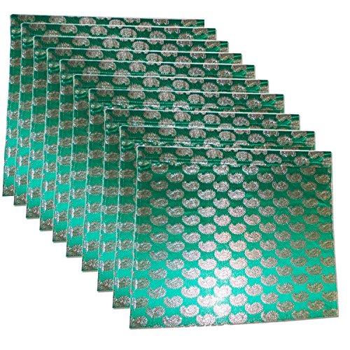 Kouber Industries Brocade Sari Coque Lot de 10 pcs (Vert)