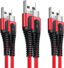 XLTOK Cable USB Tipo C, Cable USB C [ 3Pack 1M +1M+2M ] Carga Rápida Compatible para Samsung Galaxy S20 /S10 /S9 /S8 /Note 8, Huawei P9 /P10 /P20, LG G5 /G6, Sony Xperia XZ etc - Rojo
