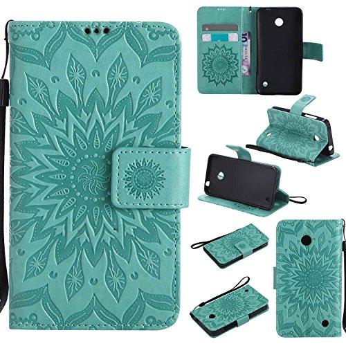 pinlu® PU Leder Tasche Etui Schutzhülle für Nokia Lumia 630 635 Lederhülle Schale Flip Cover Tasche mit Standfunktion Sonnenblume Muster Hülle (Grün)