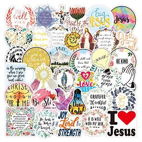 XXCKA Jesus Christen glauben an berühmte Sprüche Wortaufkleber für das Styling Motorrad Telefon Laptop Fall Kinder Spielzeug Aufkleber 50Pcs