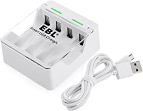 EBL Quick & Convenient Smart Battery Charger for AA AAA Rechargeable Batteries - USB Input Design for Travel