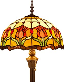 Tiffany Style Floor Standing Lamp 64 Inch Tall Stained Glass Tulip Flower Design Shade 2 Light Antique Base for Bedroom Living Room Reading Lighting Table Set S030 WERFACTORY