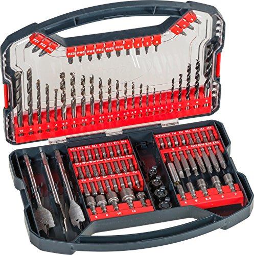 kwb Power-Box 101-tlg. Bohrer- und Bit-Set, bestehend aus Bits, Stecknüssen, Stein-Bohrer, Holz-Bohrer, Metall-Bohrer & Fräs-Bohrer in robuster Box mit Tragegriff