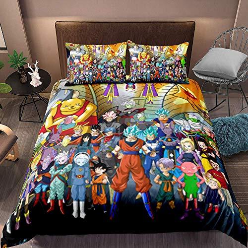 917 FADNB Dragon Ball Bettbezug Bettwäsche Set - Bettbezug und Kissenbezug,Mikrofaser,3D Digital Print dreiteiliger Bettwäsche (10,King 220x240cm)