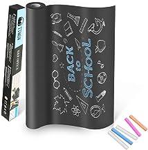 TTMOW Vinilo Lámina de Pizarra Negra Flexible Adhesivo Removible para Escribir y Borrar (Incluye 5 tizas), 43 x 200 cm, Co...