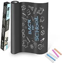 TTMOW Vinilo Lámina de Pizarra Negra Flexible Adhesivo Removible para Escribir y Borrar (Incluye 5 tizas), 43 x 200 cm, Color Negro