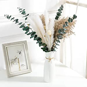 """Dried Flowers Branches Natural Pampas Grass 18"""" Eucalyptus Reed Floral Bouquet Boho Decor for Vase , Pampass Grass Farmhouse House Fall Decor Table Decorations for Home Party Wedding"""