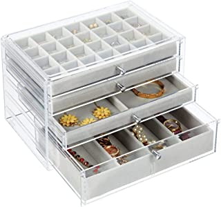 mDesign Plastic 4-Drawer Jewelry Box - Removable Divided Organizer Trays for Storage on Dresser, Vanity, Countertop - Holds Earrings, Bracelets, Necklaces, Bangles, Rings - Clear/Gray