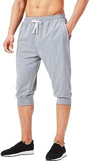 Men's 3/4 Workout Training Jogger Capri Pants Athletic Gym Running Yoga Shorts Zipper Pockets