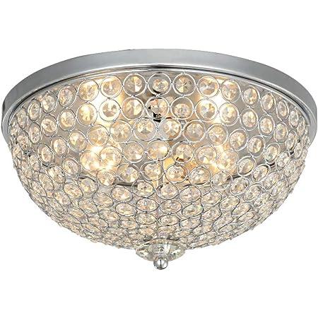 Karmiqi Crystal Ceiling Light, 2-Light Modern Flush Mount Light Fixture for Living Room, Bowl Shaped Chrome Finish E27 Ceiling Lamp for Bedroom Dining Room Kitchen Island Hallway Entryway