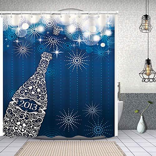 YANAIX Wasserdichter Duschvorhang,Champagner & Feuerwerk,Drucken von Badvorhängen mit 12 Haken 150x180cm