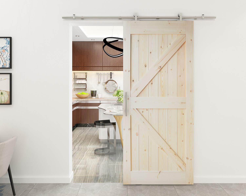Kit de montaje de puerta corredera, de la marca AiHom, de acero inoxidable, para puerta deslizante de madera estilo granero: Amazon.es: Bricolaje y herramientas
