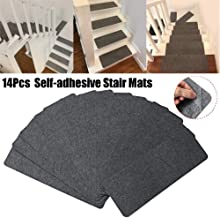 Staircase Carpet,14Pcs Self-Adhesive Staircase Mats Anti-Skid Step Rugs Safety Mute Floor Mats Safe Stair Pads for Home,Ha...