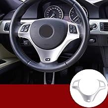 Yiwang - Funda para volante de coche (fibra de carbono, ABS, cromada, para 1, 3, 5 puertas, M Sport Coupe E82 E87 E90 E93 2005-2014)