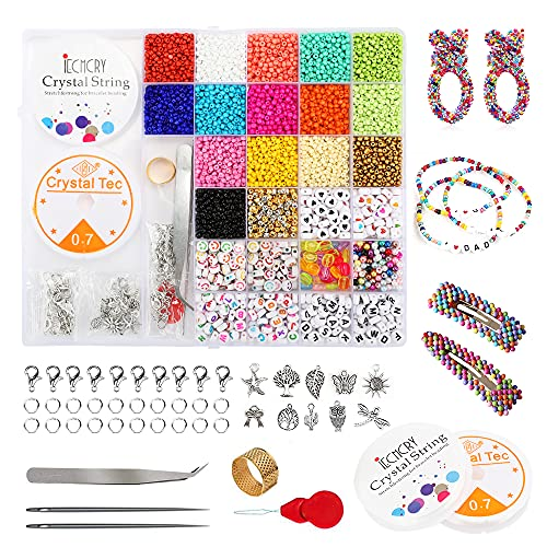 7091 cuentas de colores para enhebrar, cuentas con letras del alfabeto para niños y adultos, con caja de almacenamiento de 28 compartimentos, diadema, joyas y manualidades