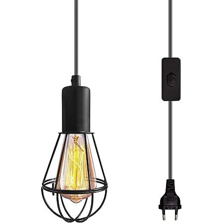 senza lampadina inclusa lampada a sospensione industriale Edison E27 con pulsante ON//OFF prese di alimentazione Euro CA Illuminazione a sospensione dimmerabile