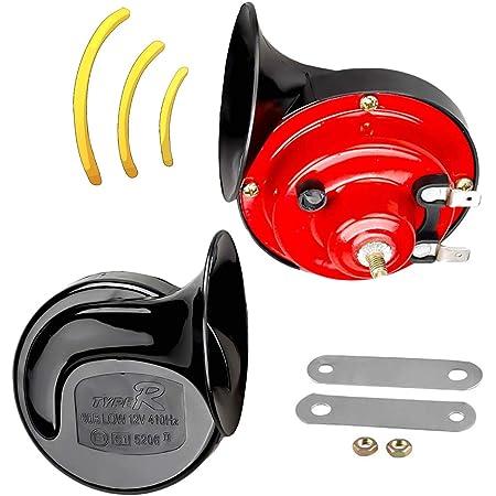 Shinetool Auto Fahrzeug Hupe Lautes Dual Tone Schnecken Hörner Universal Elektrische Luft Hupe 12v 130db Für Autos Lkw Motorrad 1 Paar Auto