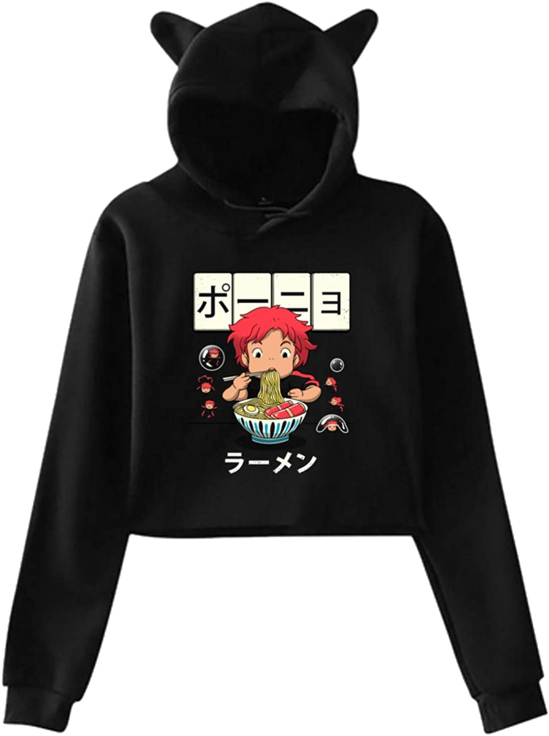 Anime Ponyo Goldfish Ramen Bowl Factory outlet Low price Women Ear Hoodie Pullover Cat Ho