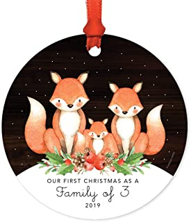 Andaz Press Family Metal Christmas Ornament, Our First Christmas as a Family of Three 2019, Watercolor Fox in Snow, 1-Pack, Includes Ribbon and Gift Bag, Newborn New Baby Mom Dad Xmas Present