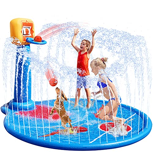 VEARMOAD 77'' Splash Pad for Kids, Sprinkler Mat with Basketball Hoop& 2 Small Basketballs, Outdoor Wading Swimming Pool Inflatable Baby Toys Summer Water Mat for 2-12 Years Old Boys Girls Toddlers