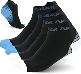 Physix Gear Sport 4 Pairs of Compression Running Socks in (2 Pairs Black/White + 2 Pairs Black/Blue) L-XL size