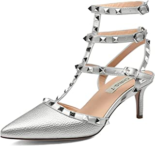 ab9729a1b7c Chris-T Women s Pointy Toe Buckle Sandals Studded Slingback Kitten Heels  Studs Leather Dress Pumps