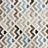 Kt KILOtela Tela de loneta Estampada - Retal de 100 cm Largo x 280 cm Ancho | Geométrico, Zigzag - Azul, marrón ─ 1 Metro