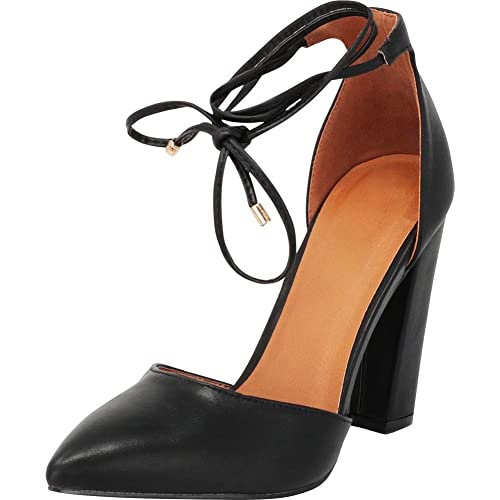 1fe95832404 Cambridge Select Women s Closed Pointed Toe D Orsay Crisscross Wraparound Ankle  Tie Chunky Block Heel