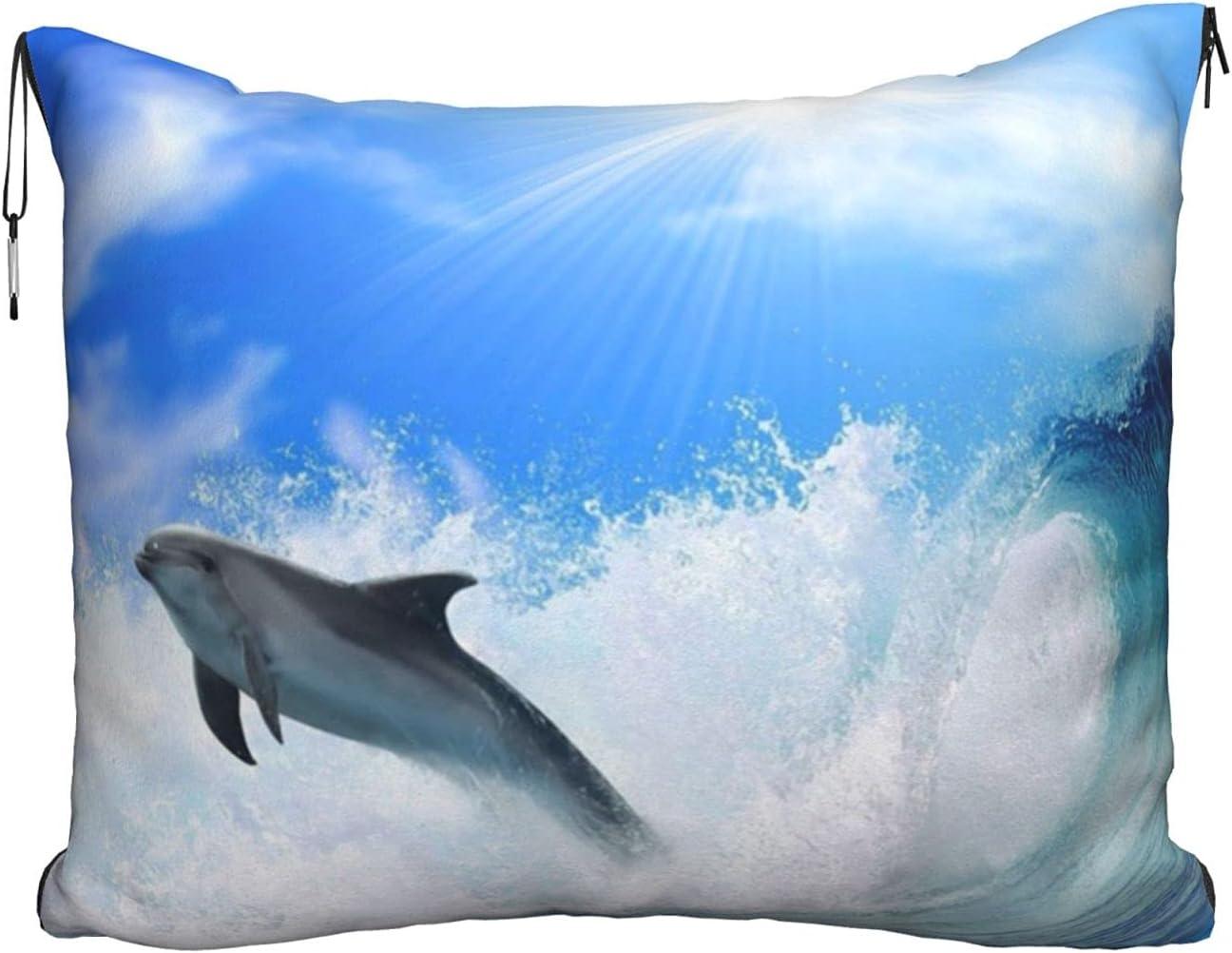 Cute Dolphin Printed Translated Travel Blanket Velvet Soft 2-in-1 Detroit Mall Pillow C
