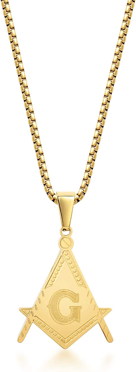 LaSua Men's - Freemason Masonic Necklace for Men and Women , Stainless Steel with Gold Color Charm and Box Chain