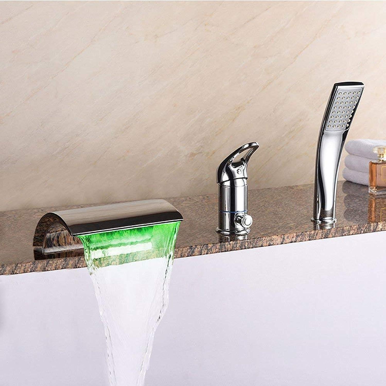BMY Mode LED Lampe Temperaturregelung Upscale Wasserfall dreiteilige Bad Wasserhahn Dusche