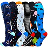 Compression Socks For Women&Men 1/3/6 Pairs - Best Medical for Running Athletic Flight Travel Circulation Recovery, 20-30mmHg (Multicoloured1-6 Pairs, Large/X-Large)