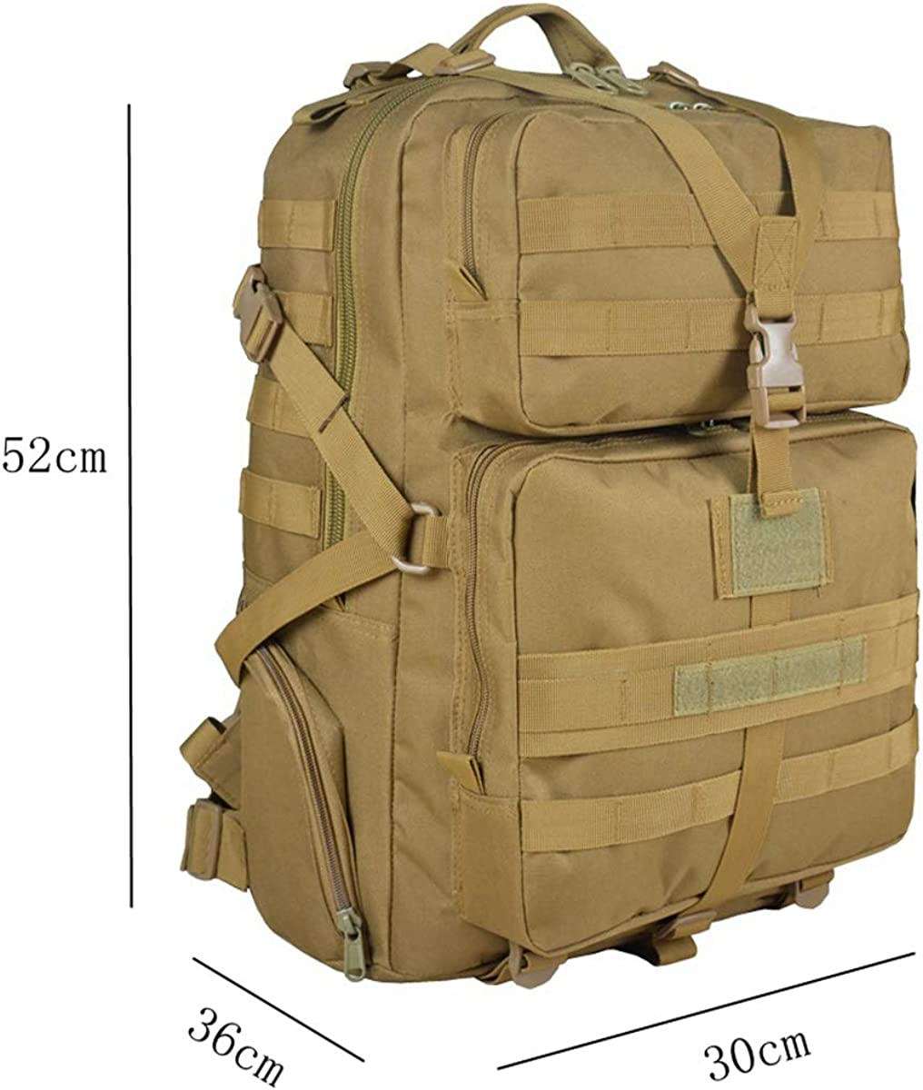 Tactical backpack outdoor climbing 45 liters//attack backpack travel camping bag hiking tactical backpack mud-colored large Oxford cloth backpack
