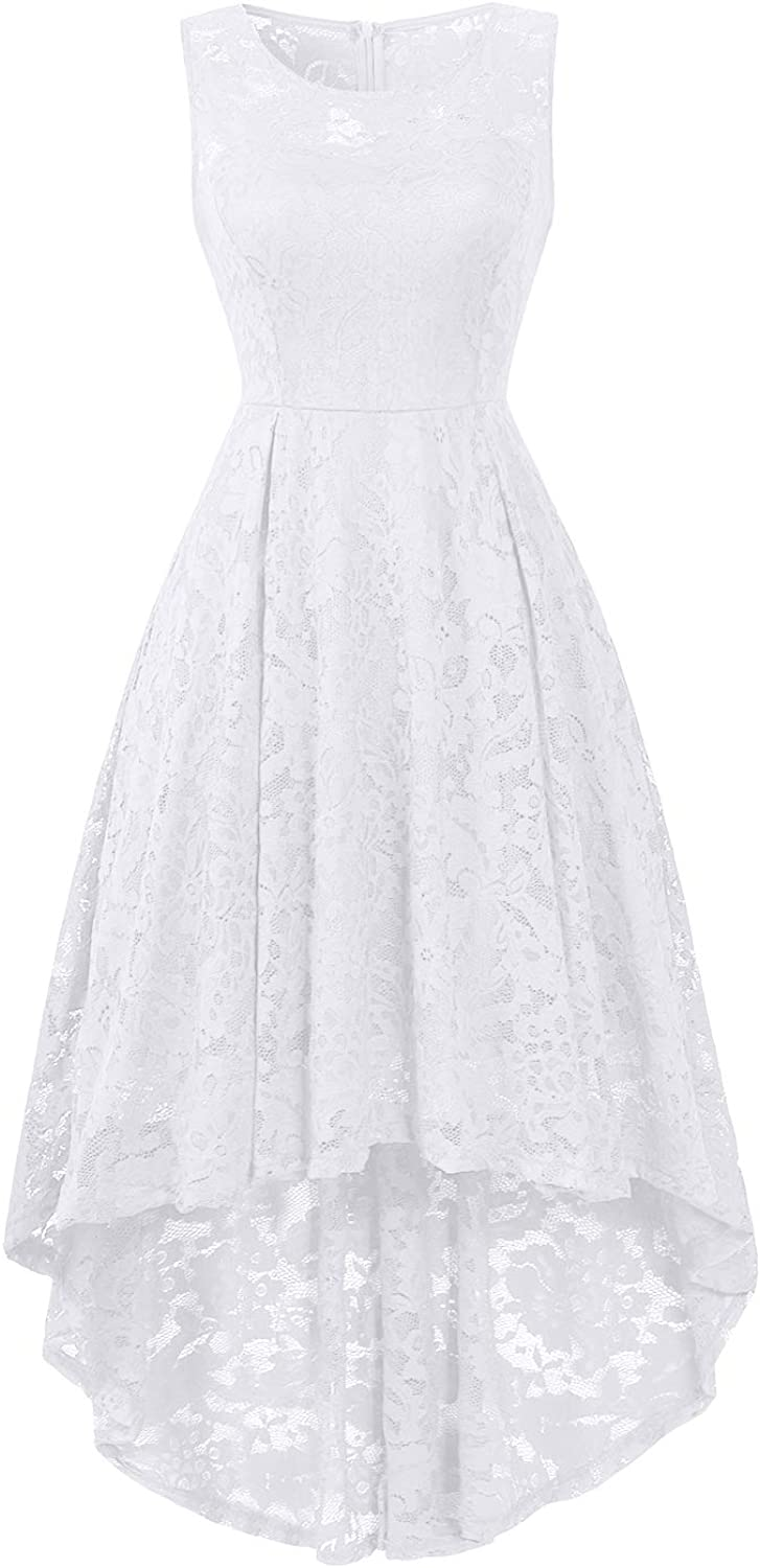BBX Lephsnt Womens Lace Cocktail Dress Elegant Floral Sleeveless Swing High Low Formal Prom Dress