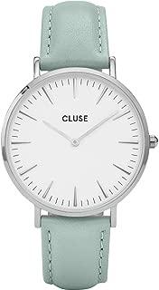 CLUSE La Bohème Silver White Pastel Mint CL18225 Women's Watch 38mm Leather Strap Minimalistic Design Casual Dress Japanese Quartz Elegant Timepiece