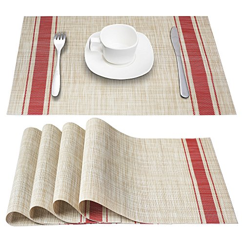 DACHUI Placemats, Heat-Resistant Placemats Stain Resistant Anti-Skid Washable PVC Table Mats Woven Vinyl Placemats, Set of 4 (Red)